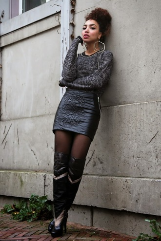 from hats to heels blogger embellished leather skirt earrings thigh high boots grey sweater