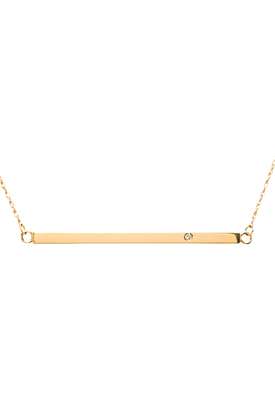 Jennifer Zeuner Horizontal Bar Necklace with Diamond in Yellow Vermeil