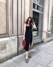 dress,black dress,shoes,mules,bag,midi dress,sunglasses