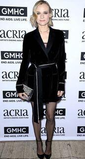 dress,shirt dress,black dress,diane kruger,wrap dress,velvet,velvet dress