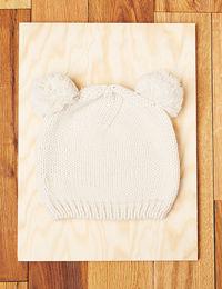 Bonnet pompons beige