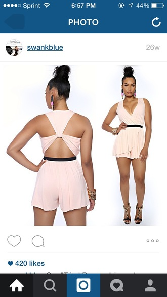 jumpsuit rumper romper peach pink salmon black shorts criss cross strappy backless v cut boobs