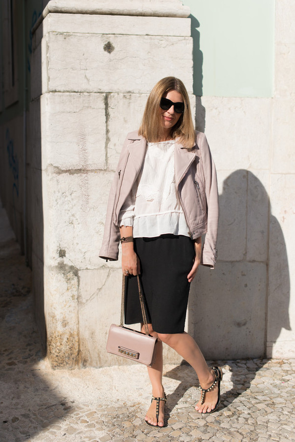 the working girl blogger skirt top jacket bag shoes sunglasses