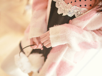 kawaii dress lace dress fuzzy sweater polka dots cute dress baby pink cardigan heart
