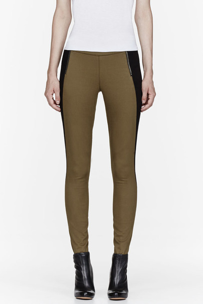 Leggings: khaki, colorblocked, allie, clothes, women ...