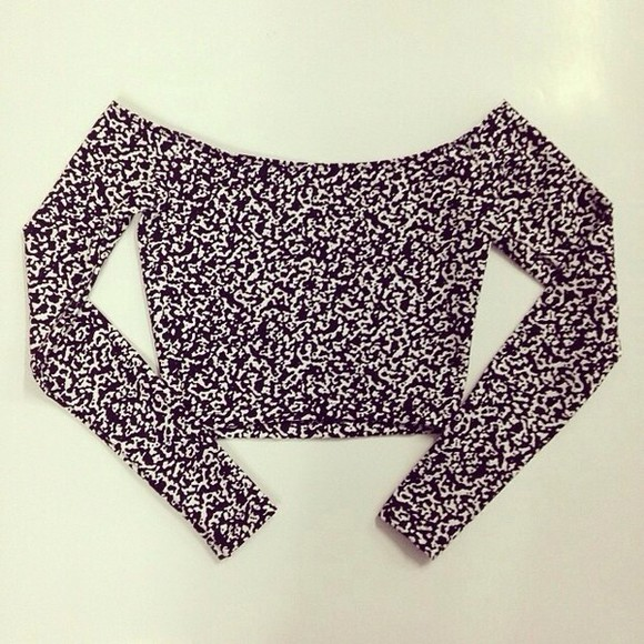 black and white long sleeved crop tops tank top