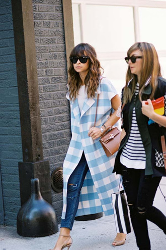 vanessa jackman blogger coat sleeveless coat blue coat gingham printed long coat miroslava duma
