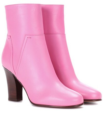 leather ankle boots ankle boots leather pink shoes