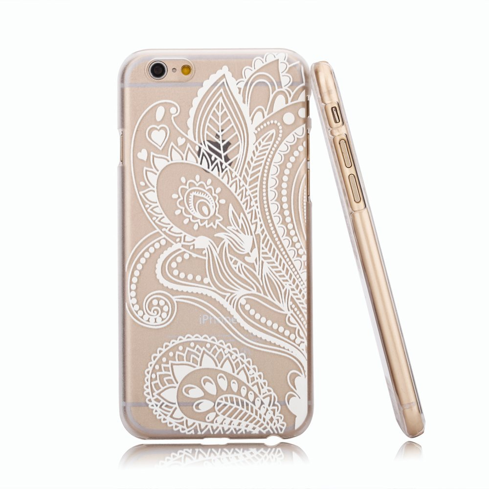 Amazon.com: iphone 6 case, hundromi(tm) plastic case cover for iphone 6 henna white floral paisley flower mandala (for iphone 6 4.7 inch screen): cell phones & accessories