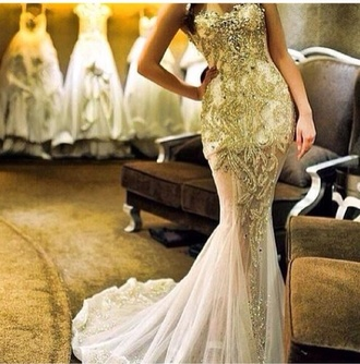 dress gold beaded wedding dress prom dress long strapless train beautiful instagram fashionoutlaws find it tips