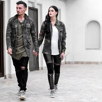 jacket maniere de voir camouflage overcoat shirt coat ripped pockets matching set couple 36683