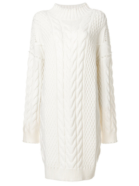 karl lagerfeld dress women embellished white knit