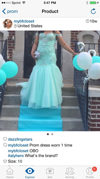 dress aqua aqua dress off the shoulder dress blue dress blue tiffany blue prom dress prom beading