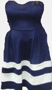 dress,white stripes.,navy,strapless dress