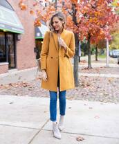 shoes,ankle boots,jeans,yellow coat,bag,leather boots