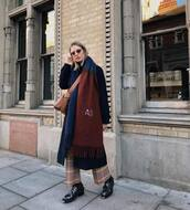 scarf,multicolor,crossbody bag,ankle boots,boots,wide-leg pants,pants,checkered pants,coat,wool coat,long coat,oversized coat,sunglasses