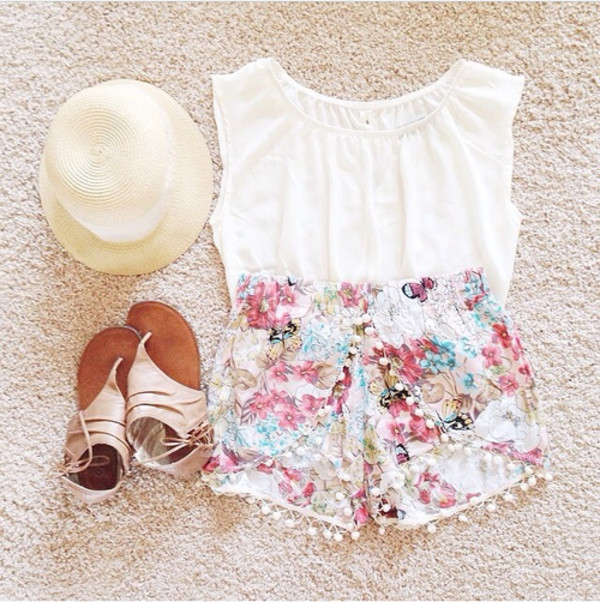 shorts summer print floral flowered shorts tank top top t-shirt blouse white