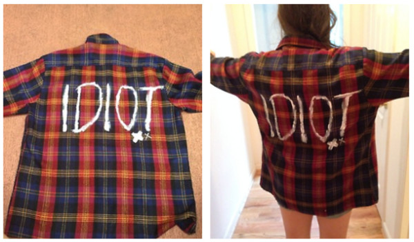 idiot flannel handmade punk trendy plaid soft grunge