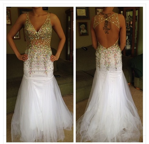 dress gold white gems jewels backless tulle skirt prom prom dress long prom dress mermaid prom dress backless prom dress prom dress prom dress white dress white prom dress white and gold dress v neck dress gold and white sequin