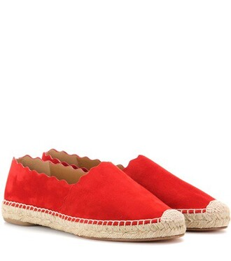 espadrilles suede red shoes