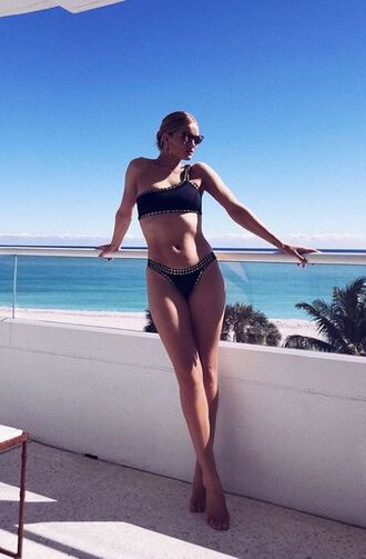 swimwear bikini bottoms bikini top bikini rosie huntington-whiteley model off-duty instagram