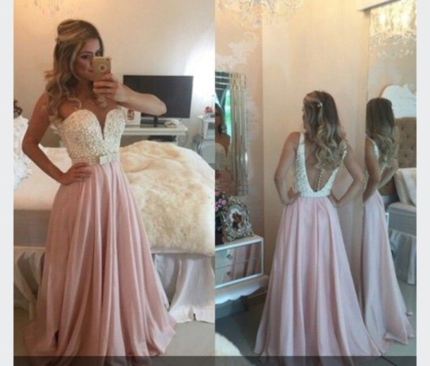 dress dusty rose dress beaded top long prom dress long dress prom goals prom dress princess pink skirt dress with back pearls pearl black and white acacia brinley blonde hair tan skin white pink prom gown pearl dress light pink backless