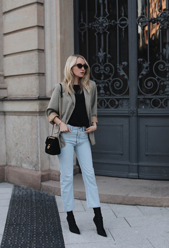 jeans tumblr blue jeans denim boots black boots sock boots top blazer bag black bag t-shirt shoes