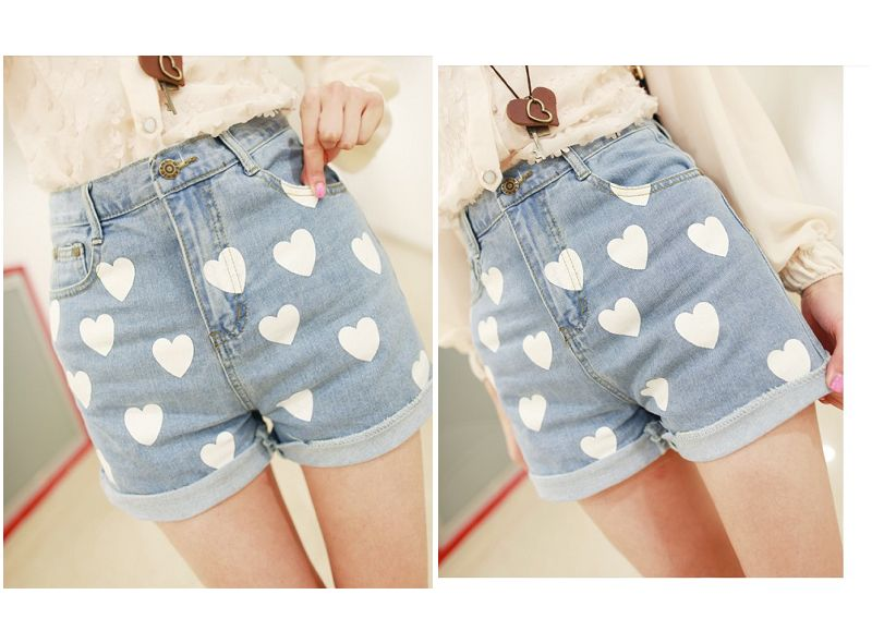 Free shipping 2014 new arrival heart printing nolvety denim shorts light blue love short jeans high waist brand women pants-inJeans from Apparel & Accessories on Aliexpress.com