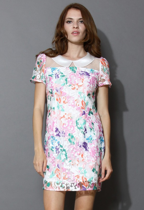 chicwish colorful embroidered dress
