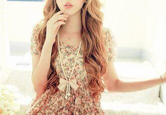 dress floral clothes pearl jewels flowers classy bright flower print bun chain