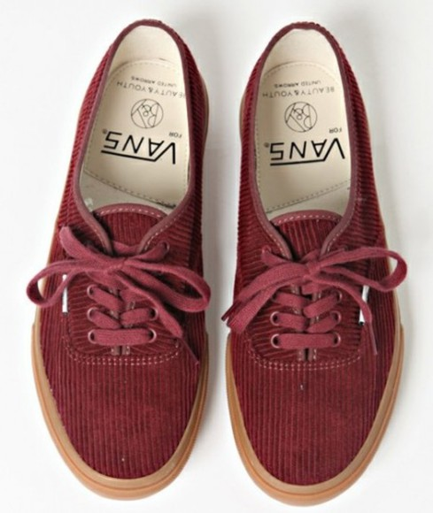 shoes corduroy vans red vintage