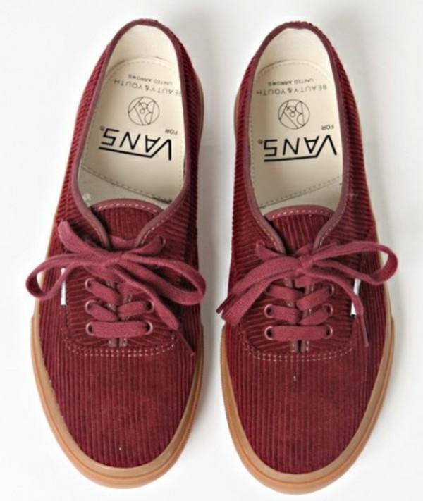 shoes vans corduroy red vintage burgundy skater