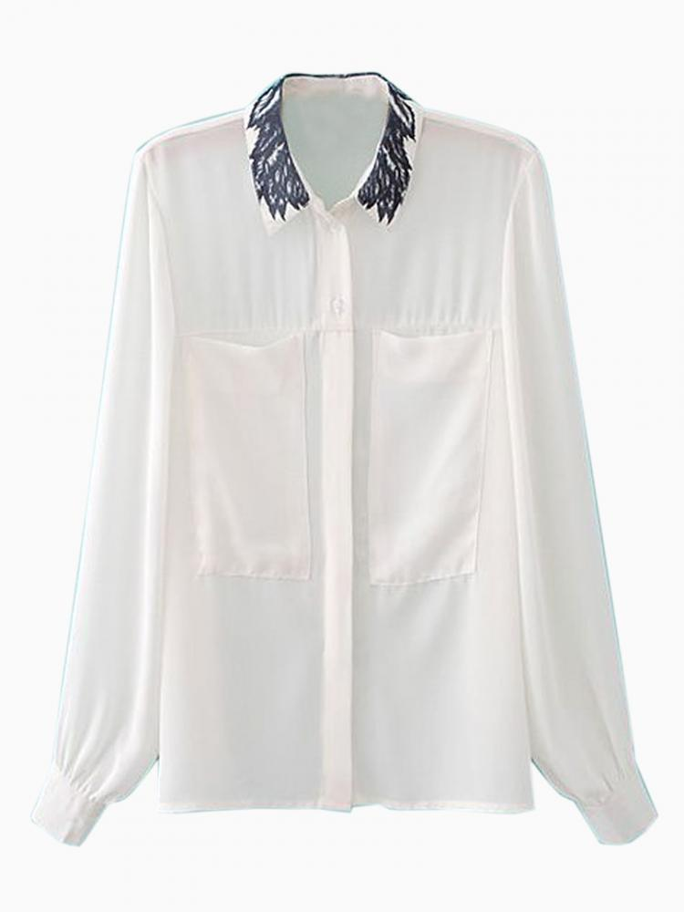 Bright Chiffon Blouse With Wash Painting Collar | Choies