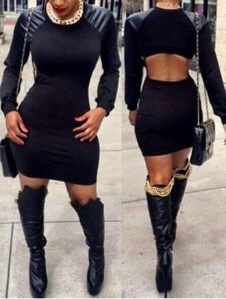 dress open back black long sleeves women's stylish long sleeve pu splicing jewel neck dress sexy hot fashion style