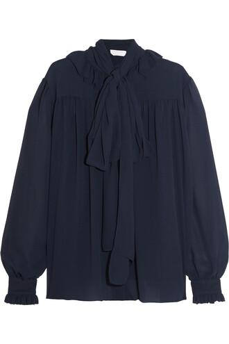 blouse chiffon blouse bow chiffon navy top