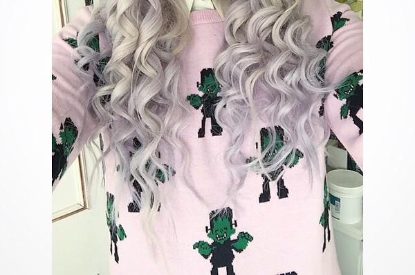 frankenstein baby pink grunge punk goth pastel goth lolita baby doll knit