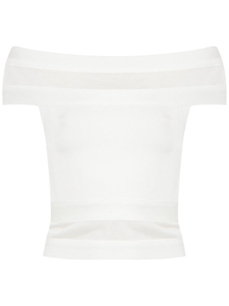 Andrea Bogosian top cropped off the shoulder women spandex white