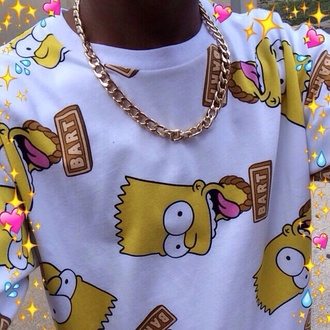 bart simpson jewels blouse the simpsons gold chain sweater urban hipster white sweater cartoon cardigan