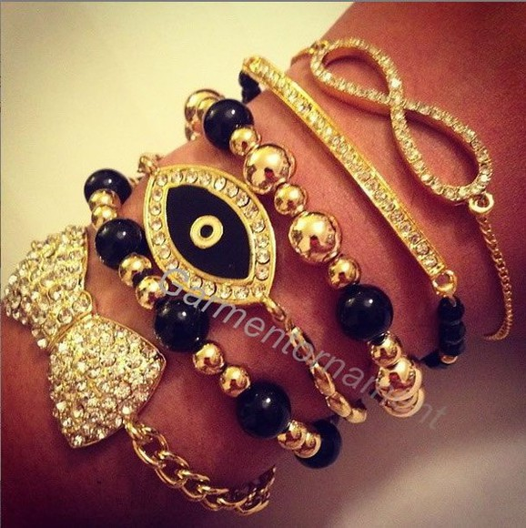 bow jewels black gold silver crystal bracelet bracelet set eye infinity sign
