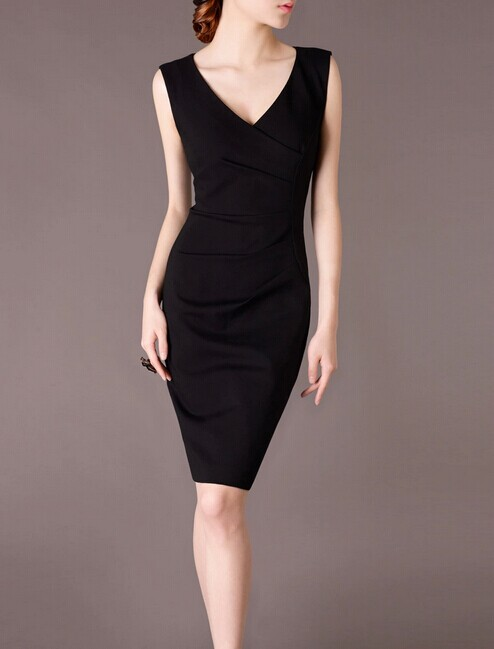 Black V-neck Elegant Noble Summer OL Slim Women Fashion Dress lml7088 - ott-123 - Global Online Shopping for Dresses