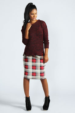 Laura Tartan Velvet Midi Skirt at boohoo.com
