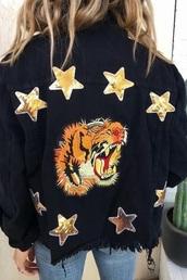 jacket,tiger,black,denim jacket