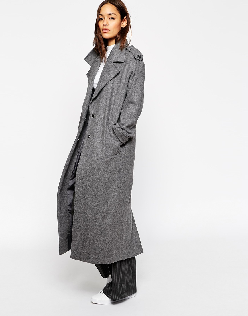 Asos coat with military detail in maxi length at asos.com