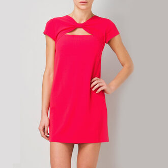 rose cut-out dress red dress chiffon dress mini dress bow dress