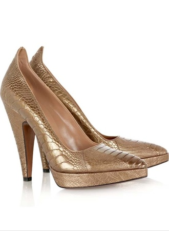 bronze print metallic shoes