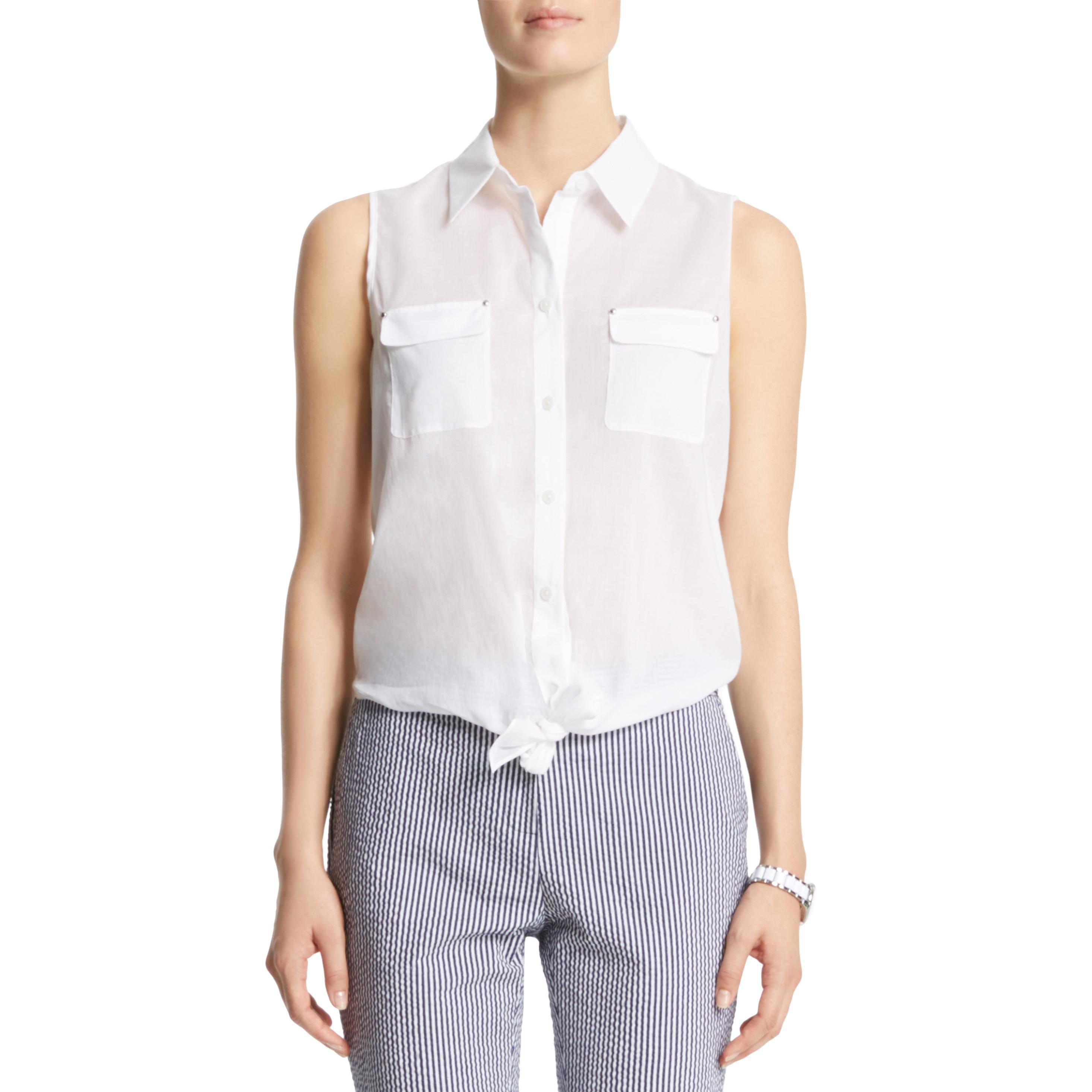 Anne klein: sleeveless tie front blouse