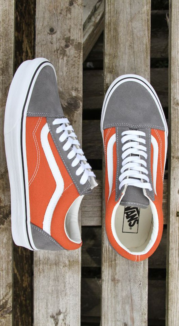 shoes vans orange grey sneakers old skool skater skate shoes vans of the wall