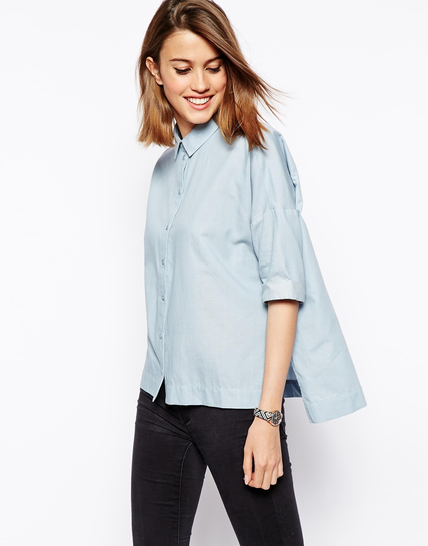 ASOS Chambray Oversized Shirt at asos.com