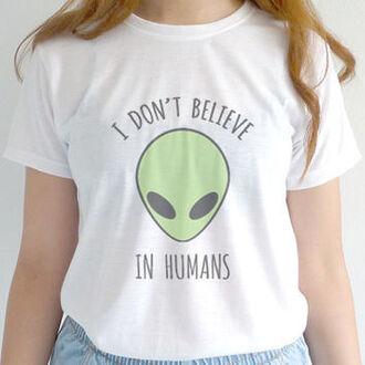 shirt alien white t-shirt
