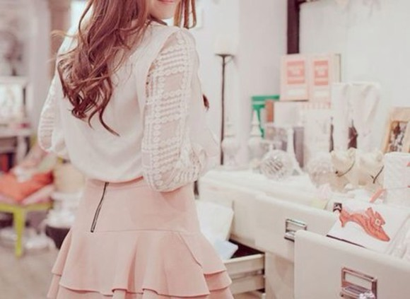 shirt girly pink skirt vintage ulzzang. korean fashion kawaii